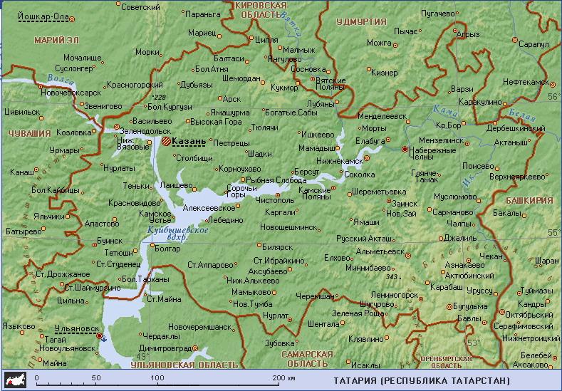 Где находится татарстан на карте